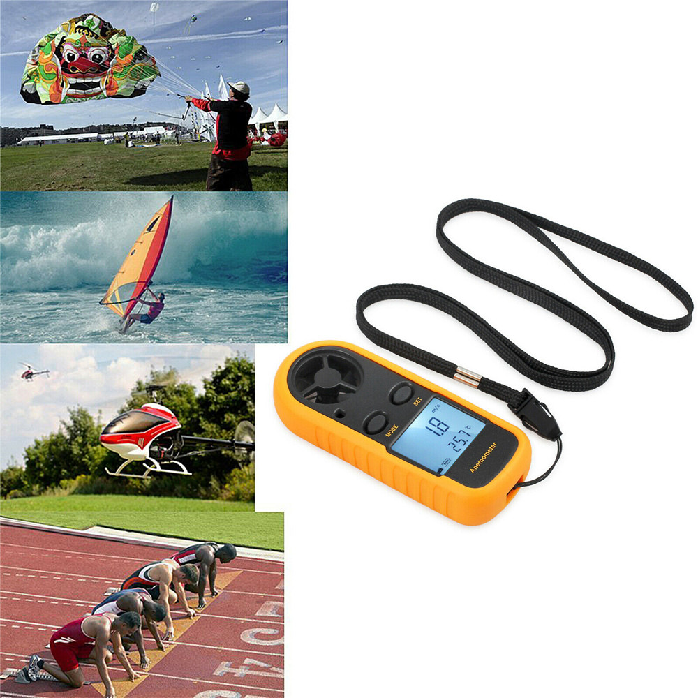 Digital LCD Handheld Anemometer Air Wind Speed Meter Tester Portable Mini Temperature Gauge