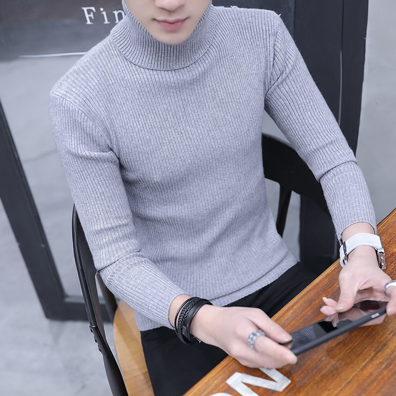 Simple Winter Thick Sweater Men Pullover Mens 2019 New Turtleneck Stripes Solid Warm Sweaters White Black Grey Brown Clothes S M
