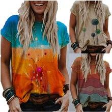 2021 nuove magliette allentate maglioni da donna manica corta Casual fiore moda O collo camicette taglie forti