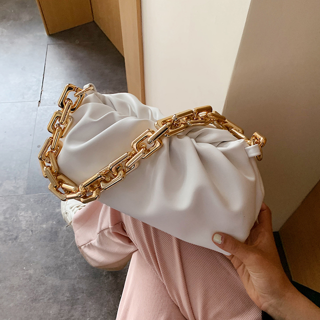 Pleated Tote Bag With Gold Chain 4