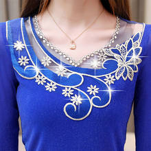 2020 Autumn Winter Women Lace Embroidery Mesh Stitch Blouses Lady Bottoming Shirt Long-sleeved Bright Silk Ruffle Tops Plus 4XL