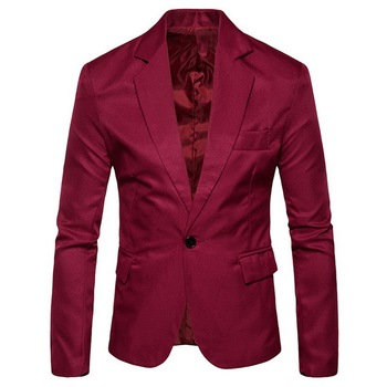 Casual Jacket Fashion Men Solid Slim Fit Suit Jacket Spring Male Long Sleeve Single Button Plus Size Fashion