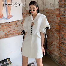 TWOTWINSTYLE White Elegant Patchwork Bowknot Dress For Women Notched Puff Short Sleeve