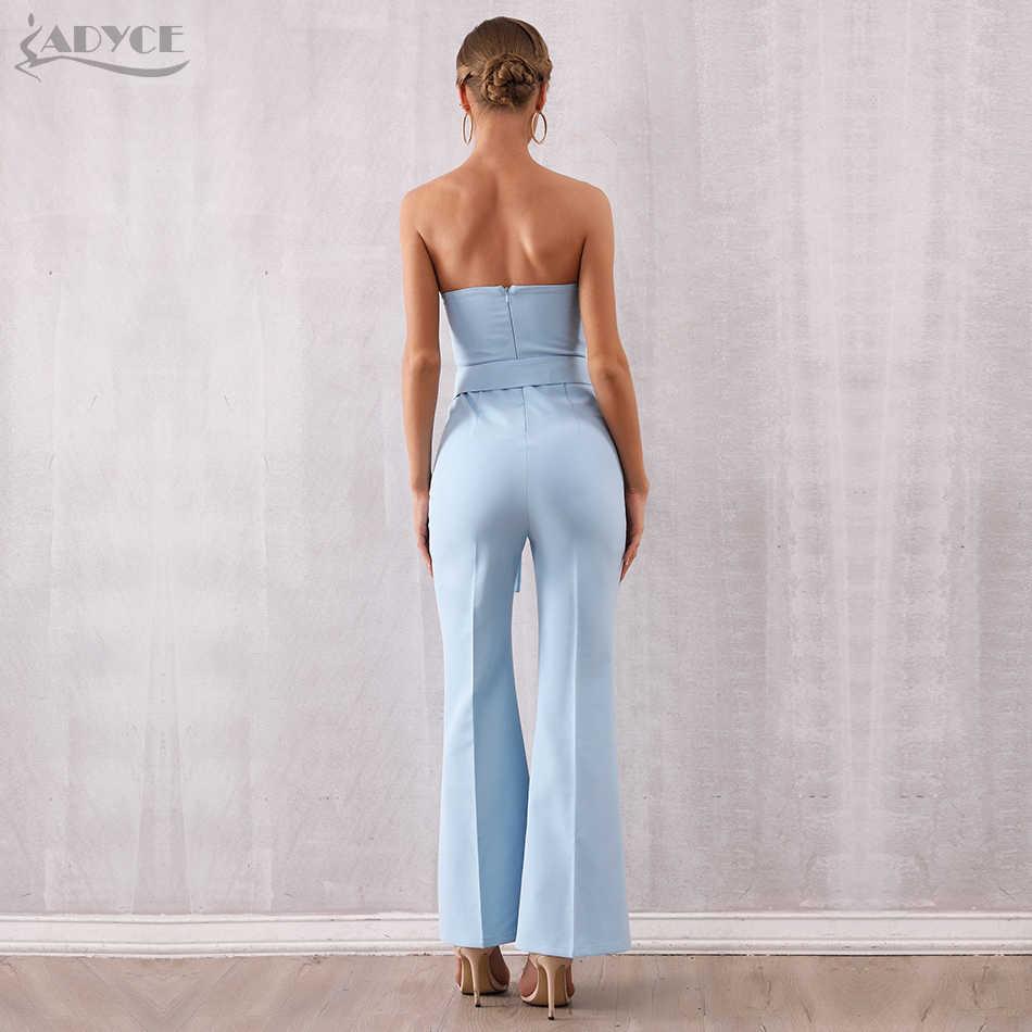 Женский клубный комбинезон с брюками ADYCE, голубой облегающий комбинезон с бантом без бретелей в стиле звезд, для подиума, для лета, 2019