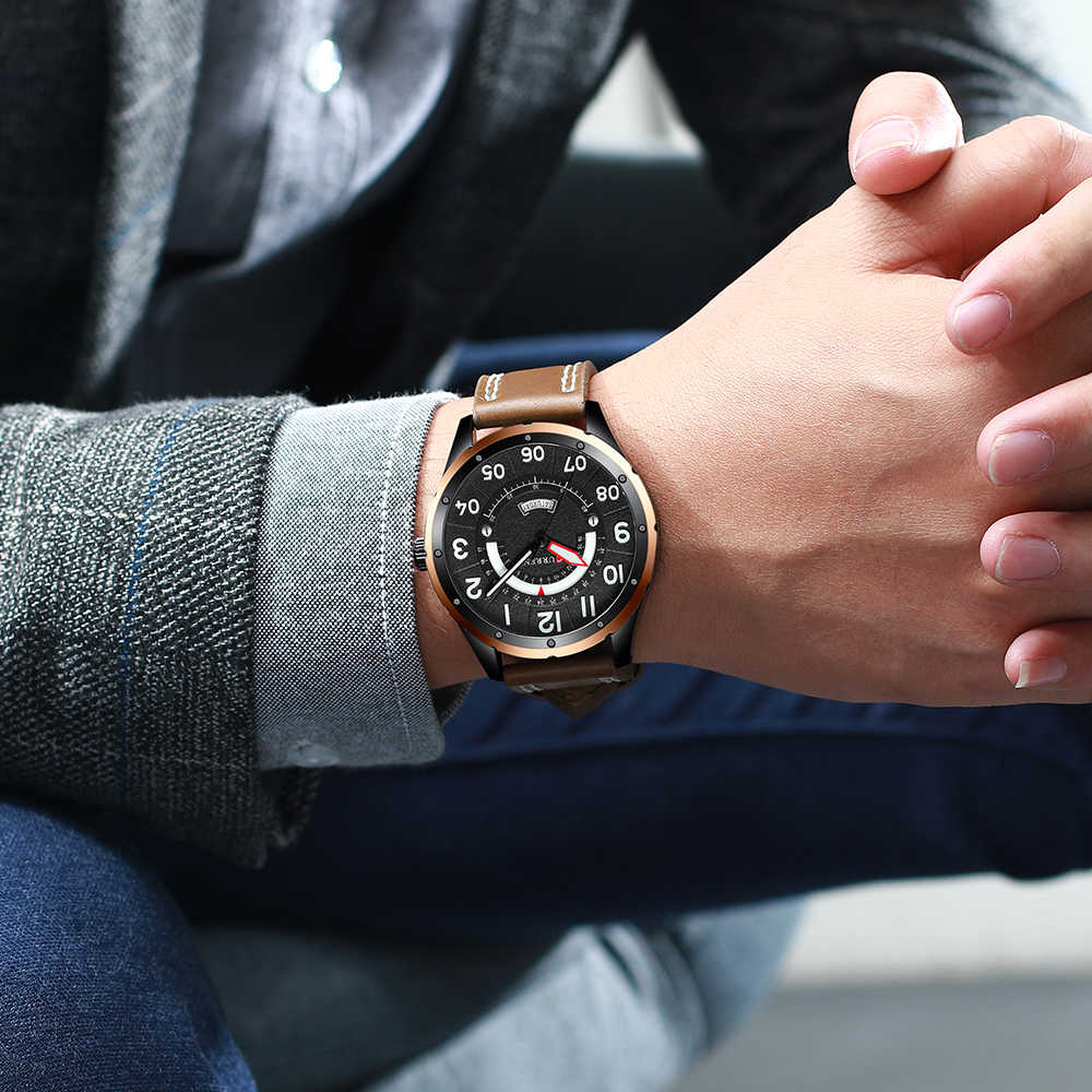 CURREN שעוני יד Mens למעלה מותג יוקרה שעון גברים אופנה מזדמן עור שעונים עם לוח שנה לגברים שחור זכר שעון