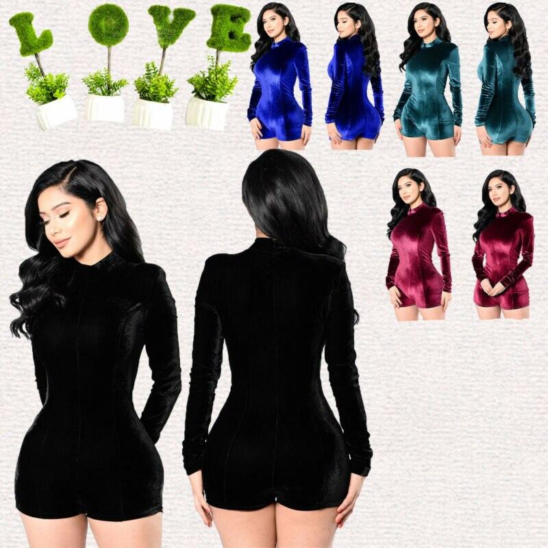 Women Long Sleeve Velvet Playsuit Autumn Slim Tight Solid Bodysuits Female Party Club Street Wear