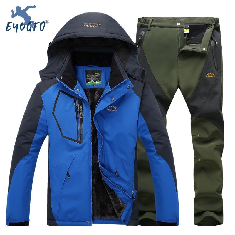 Winter Ski Suit Men Windproof Waterproof Snowboard Jacket And Pants Outdoor Super Warm 2 In 1 Thermal Fleece Snow Coat L-5XL