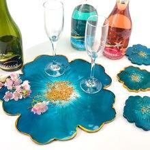 Diy flor silicone coaster pad cristal resina epóxi molde irregular pétala copo titular molde de fundição artesanato jóias fazendo ferramentas