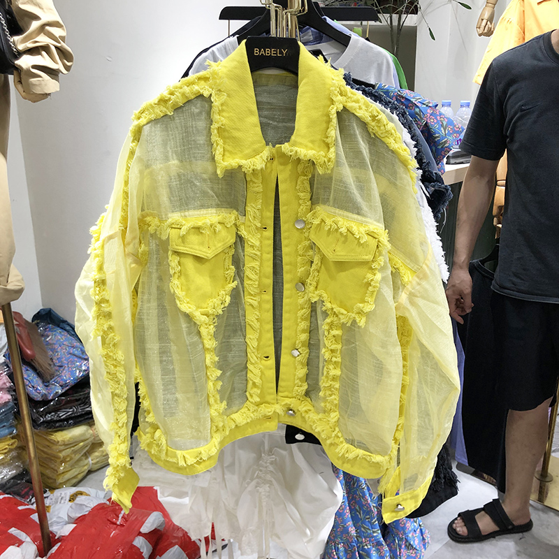 Summer New Fringed Turndown Collar Chiffon Stitching Loose Sunscreen Denim Jacket Harajuku Women's Loose Coat Summer Jacket