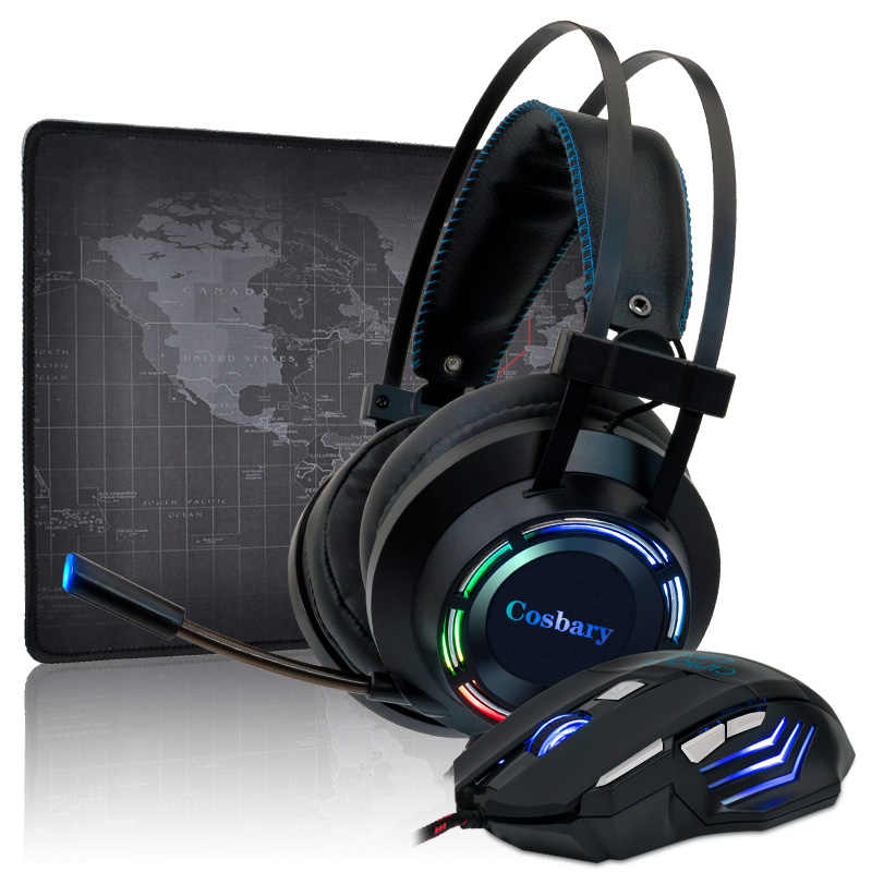 Gaming Headset 7.1 Stereo Bass Permainan Headphone dengan Mikrofon Colorful LED Light untuk PC Laptop + Gaming Mouse + mouse Pad