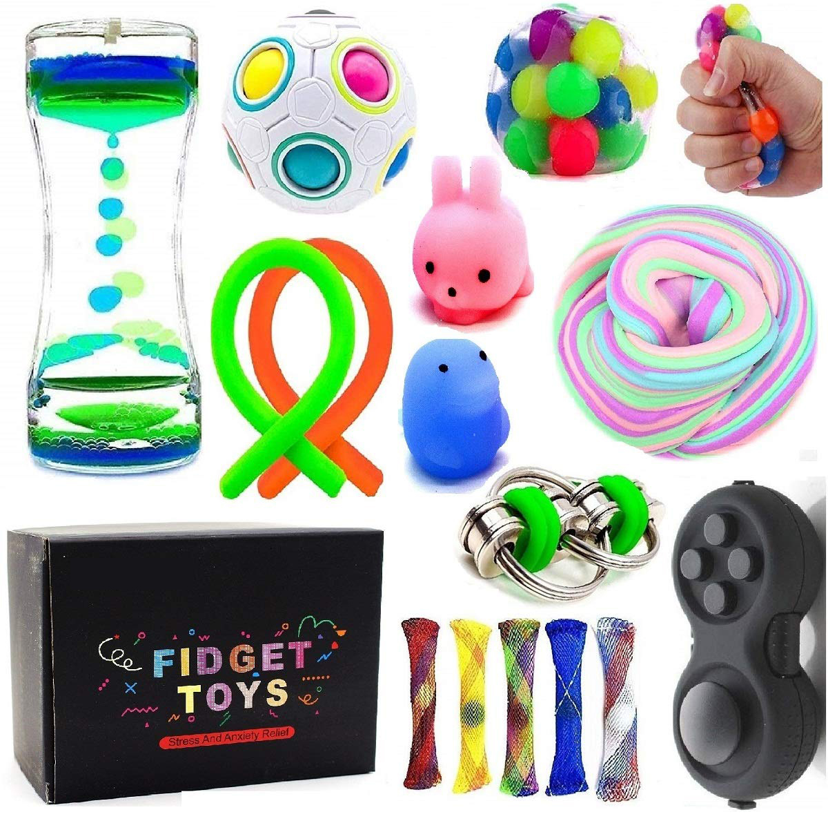 Sensory Toys Bundle-DNA Stress Relief Balls With Fidget Hand Toys For Anxiety Kids & Adults-Calming Toys For ADHD Autism Anxiety