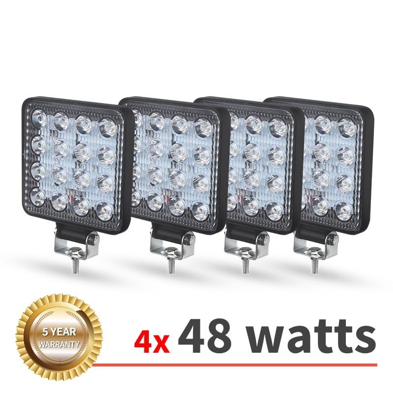 4 шт. 12 В 24 в 48 Вт Рабочий светильник 27 Вт Светодиодный точечный светильник для автомобиля лучевой Квадратный внедорожный светильник противо...