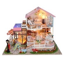 DIY Creative Handmade Theme Wooden Cabin Assembly Building Model Toy Set with Light and Music - Sweetalk