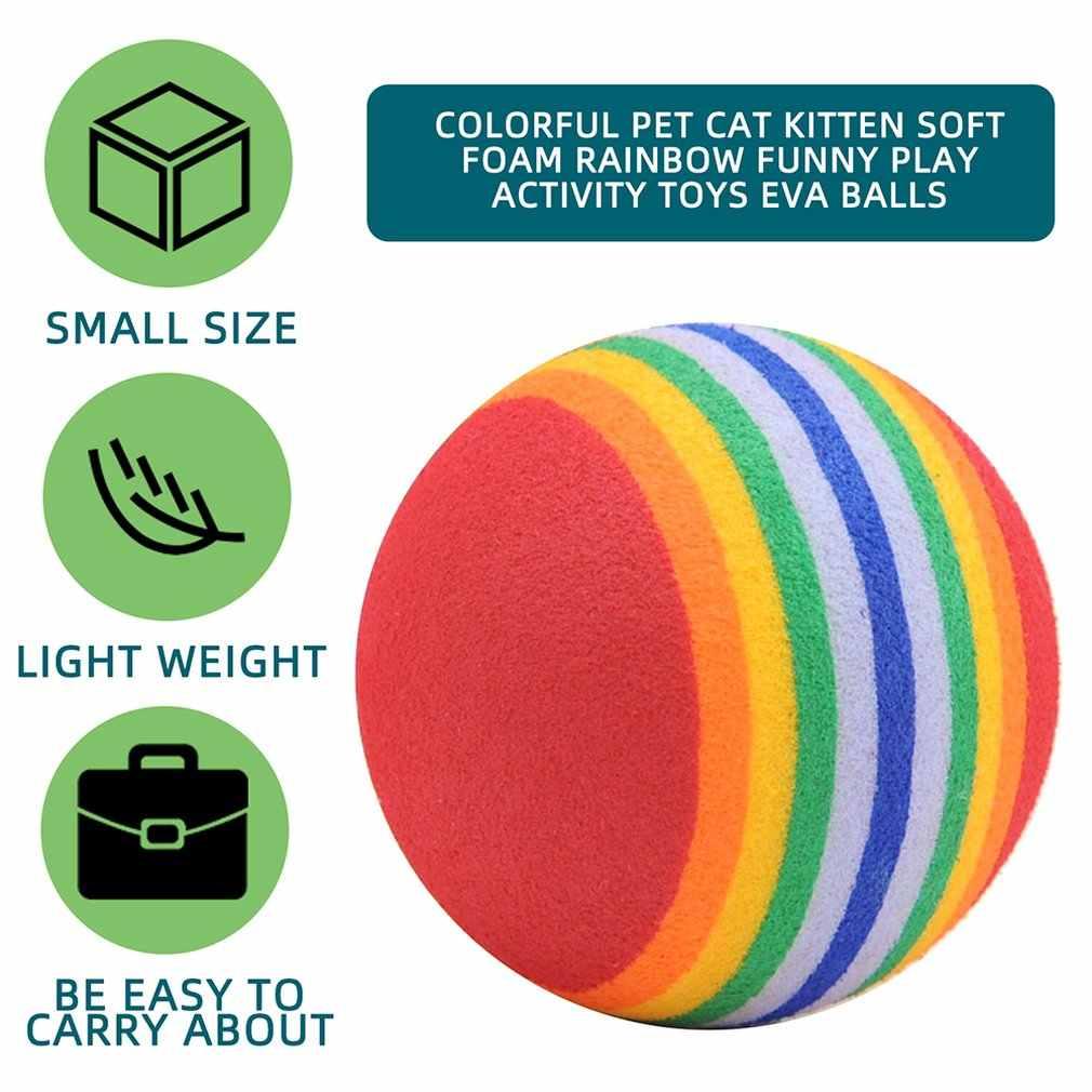다채로운 애완 동물 고양이 새끼 고양이 부드러운 거품 무지개 재미 있은 놀이 활동 완구 EVA 공 애완 동물 치아 청소 씹기 장난감 애완 동물 용품