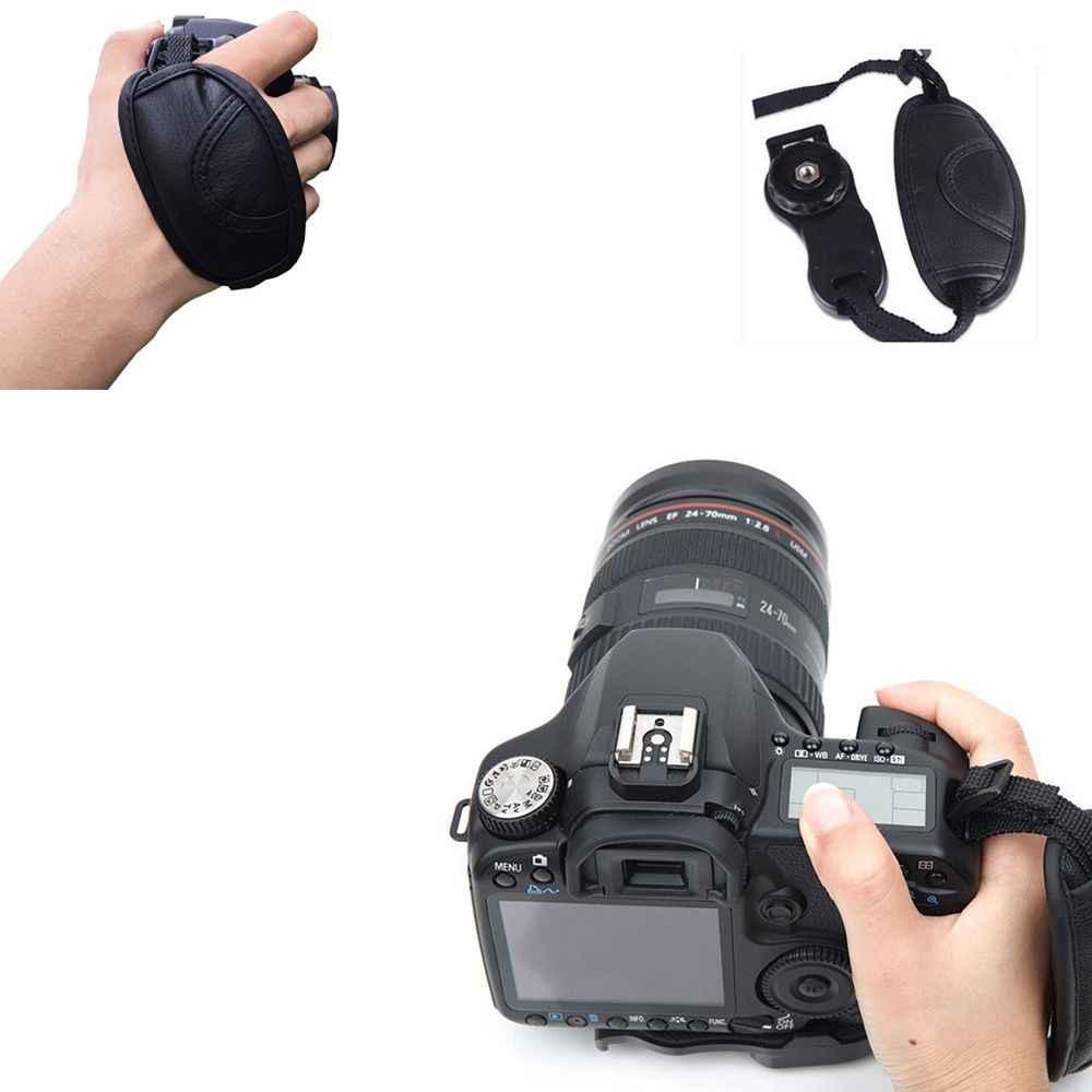 Macchina fotografica Cinturino Da Polso Nero Non-slip In Pelle Artificiale Fotocamera Da Polso Cinghia Accessorio Fotografica per Nikon Sony Canon