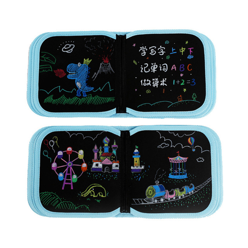 Blackboard Book Kids Portable Soft Chalk Board Drawing Book Drawing Board with Water Chalk Life Coloring Book DIY Kids Toy