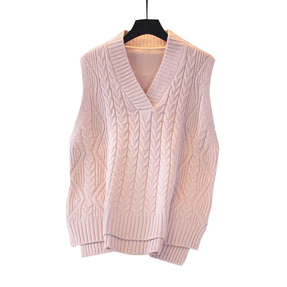 2020 Vest Women Solid Short Loose Trendy Korean Style Sleeveless Knitted V-Neck All-match Female Coats Simple Leisure Outwear