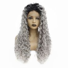 Two Tones Afro Kinky Curly Synthetic Lace Front Wig Black Roots Ombre Grey Kinky Curly Hair Glueless Full Wigs for Black Women afro kinky curly free part baby hair glueless lace front wig baby hair 12 26inch full lace wig cheap wigs for african women
