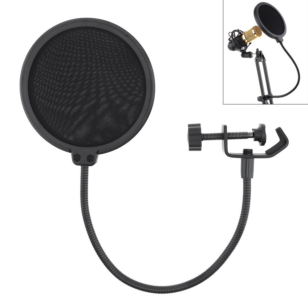 Double Layer Studio Microphone Pop Filter Flexible Mic Wind Screen Mask Mic Shield For Speaking Recording Accessories