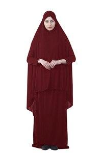 Image 4 - Kalenmos Formal Muslim Prayer Garment Sets Women Hijab Dress Abaya Islamic Clothing Dubai Turkey Namaz Long Khimar Jurken Abayas