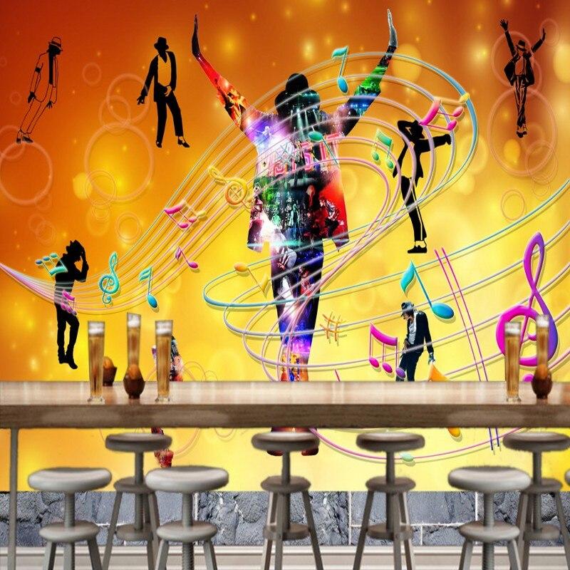 Dropship Photo Wallpaper Dance Bar KTV Background Wallpaper High Quality Silhouette Notes Mural Nightclub Custom Frescoes