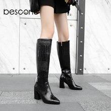 Женские сапоги на молнии с острым носком высоком каблуке 8 см