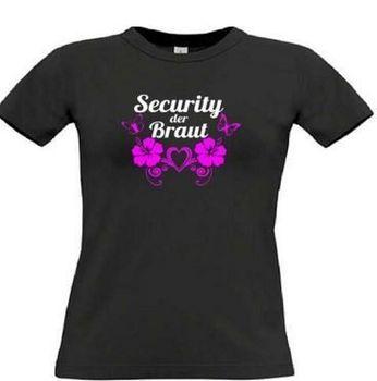 Security der Braut - T-Shirt für den Junggesellinnenabschied - JGA Braut Security, Größe XL (Packung mit 3 T-Shirt)