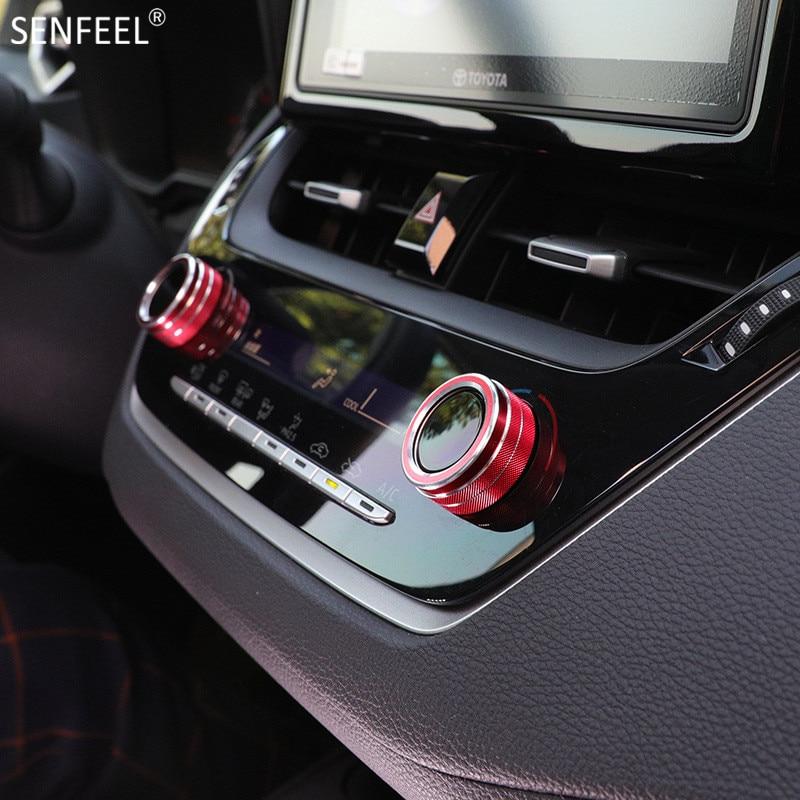 Cubierta decorativa para regulador de aire acondicionado cubierta de ajuste de anillo, estilismo deportivo para coche Toyota Corolla 2019 20 21, accesorios