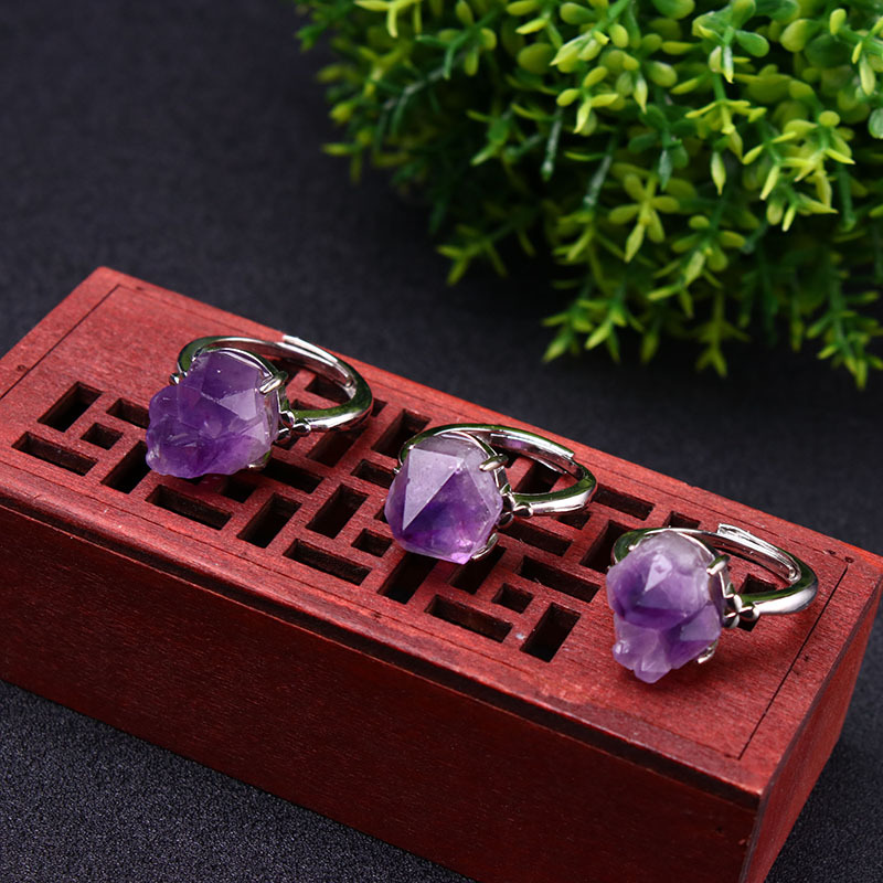 Natural Stone Open <font><b>Ring</b></font> Amethysts <font><b>Raw</b></font> Stone <font><b>Rings</b></font> Wedding Women Stone Romantic Purple Reiki <font><b>Crystal</b></font> Jewelry Valentine's Presents image