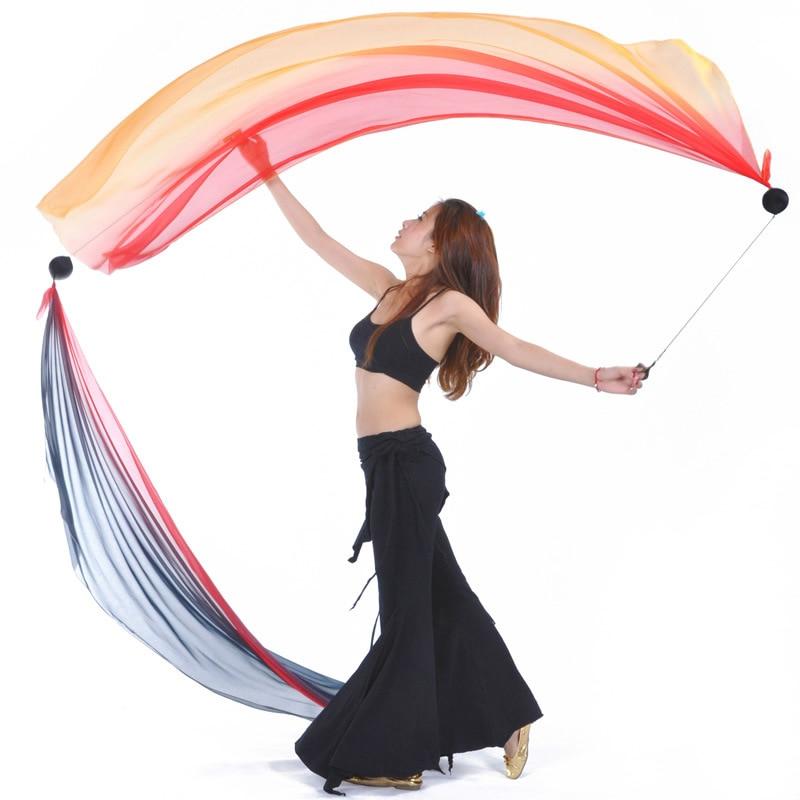 Prava svilena tančica POI Streamer metane žoge Belly Dancer odrska izvedba rekviziti Bellydance kostumski pribor Brezplačna dostava HOT