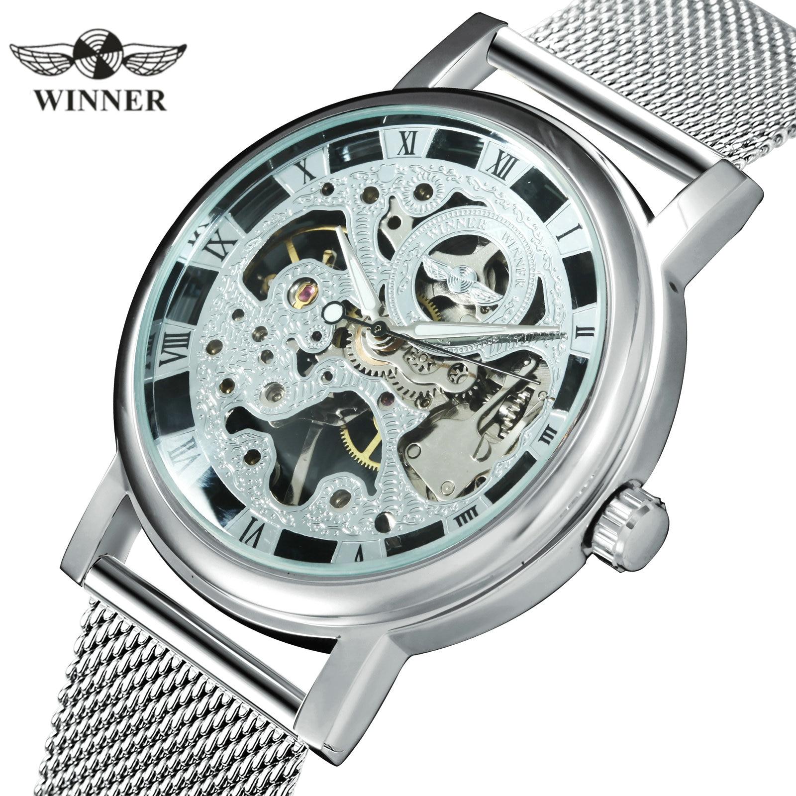 WINNER Official Fashion Women Watches Ultra Thin Mesh Strap Top Brand Luxury Skeleton Mechanical Elegant Ladies Wristwatch GirlsWomens Watches   -
