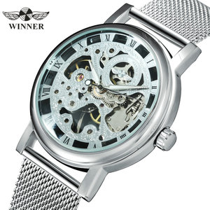 Image 1 - WINNER Official Fashion Women Watches Ultra Thin Mesh Strap Top Brand Luxury Skeleton Mechanical Elegant Ladies Wristwatch Girls