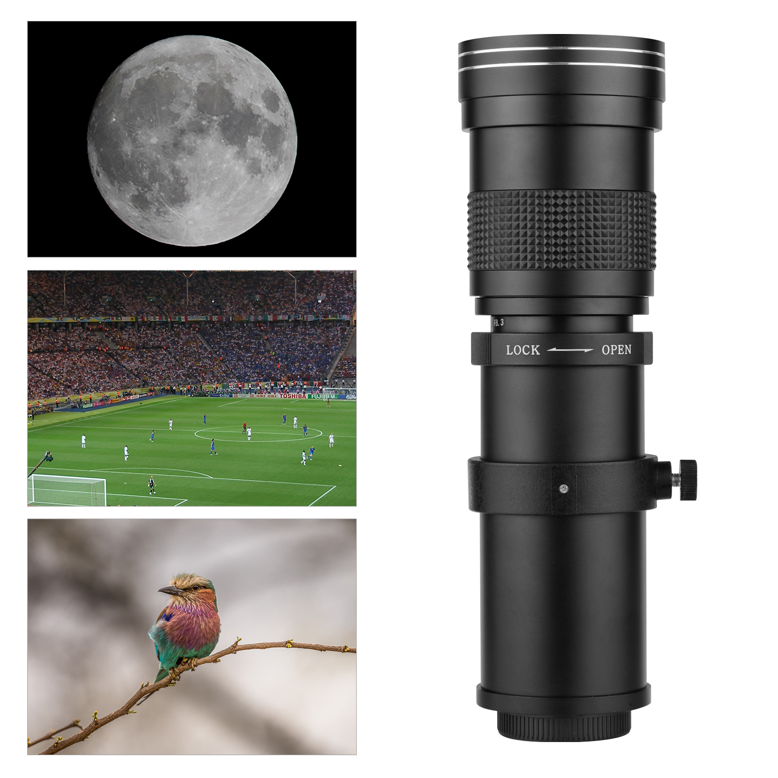 Camera MF Super Telephoto Zoom Lens F/8.3-16 420-800mm T Mount with1/4 Thread for Canon Nikon Sony Fujifilm Olympus Cameras