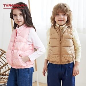 Image 1 - THREEGUN KIDS Girls Boys Kids 90% Duck Down Gilet Turtle Neck Vest Winter Children Toddler Outerwear Super Light Winter Clothing