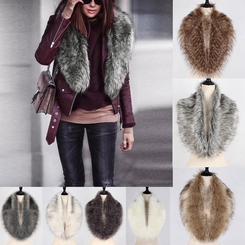Long Warm Neck Wraps Scarf For Ladies Large Shawls Vintage Elegant Womens Faux Fur Collar Scarf Shawl Collar Wrap Stole Scarves