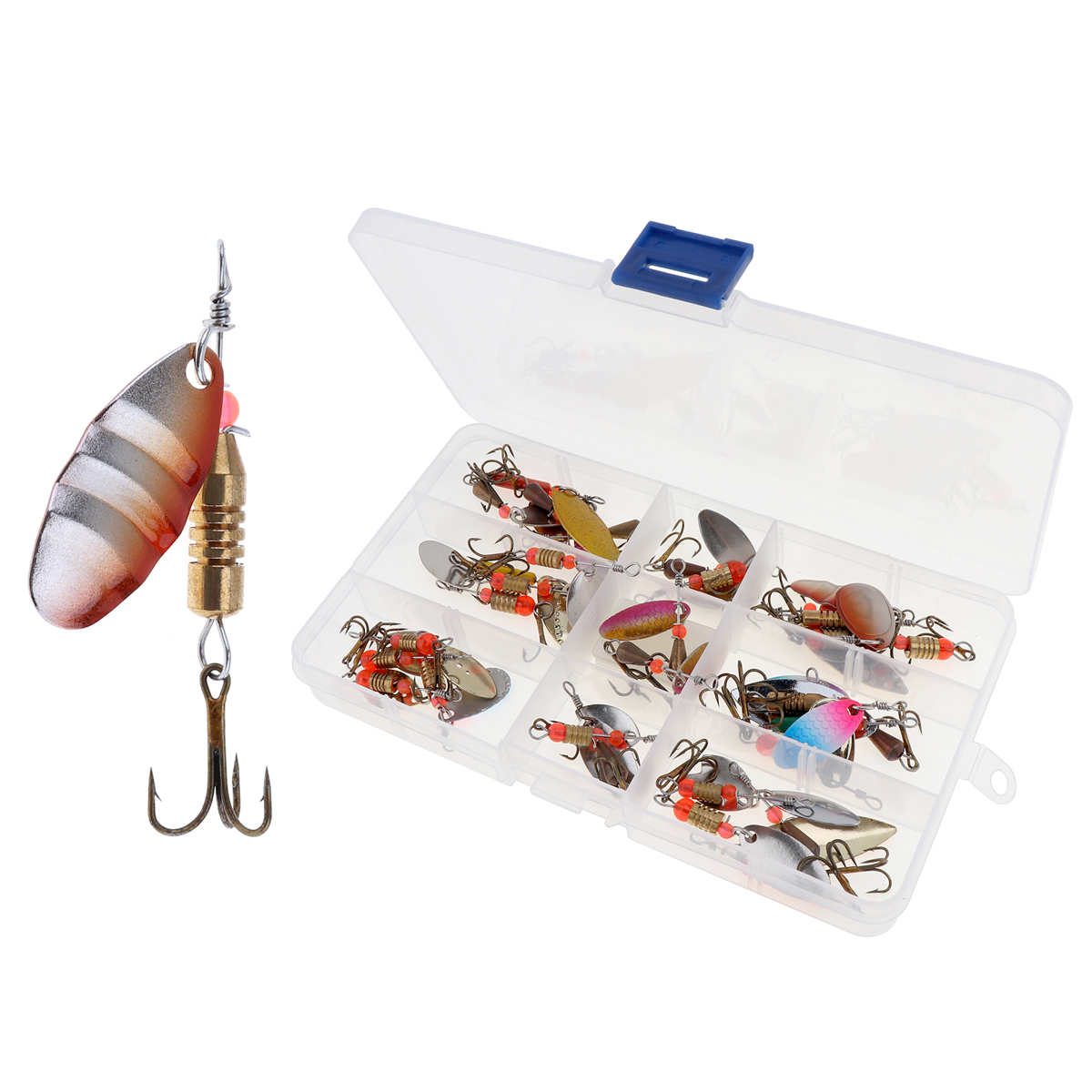 31 pcs Assorted Fishing Lures Metal Baits Bass Spoon Spinner with Sharp Box