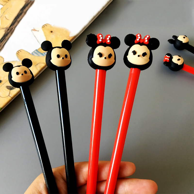Disney Mickey Minnie 0.5mm Gel Pen Cartoon Cute Signing Pen Student Writing Supplies Stationery Office School Supplies Kids Gift