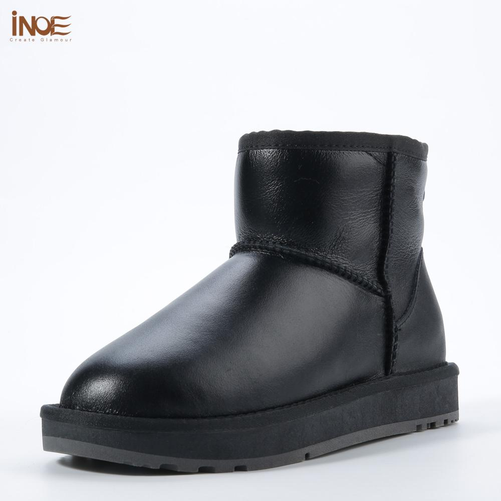 INOE classic waterproof sheepskin leather fur lined short winter snow boots for women casual winter ankle shoes black grey 35-44