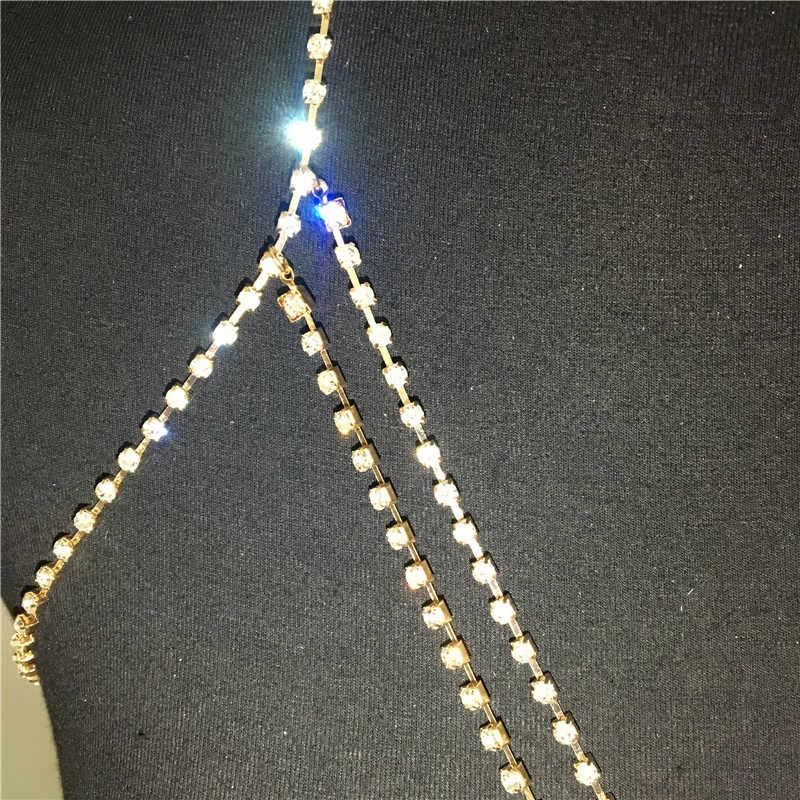 Parlak tam kristal Rhinestones göğüs zinciri altın gümüş Criss çapraz sutyen göbek takısı seksi kadın parti kulübü moda vücut zinciri