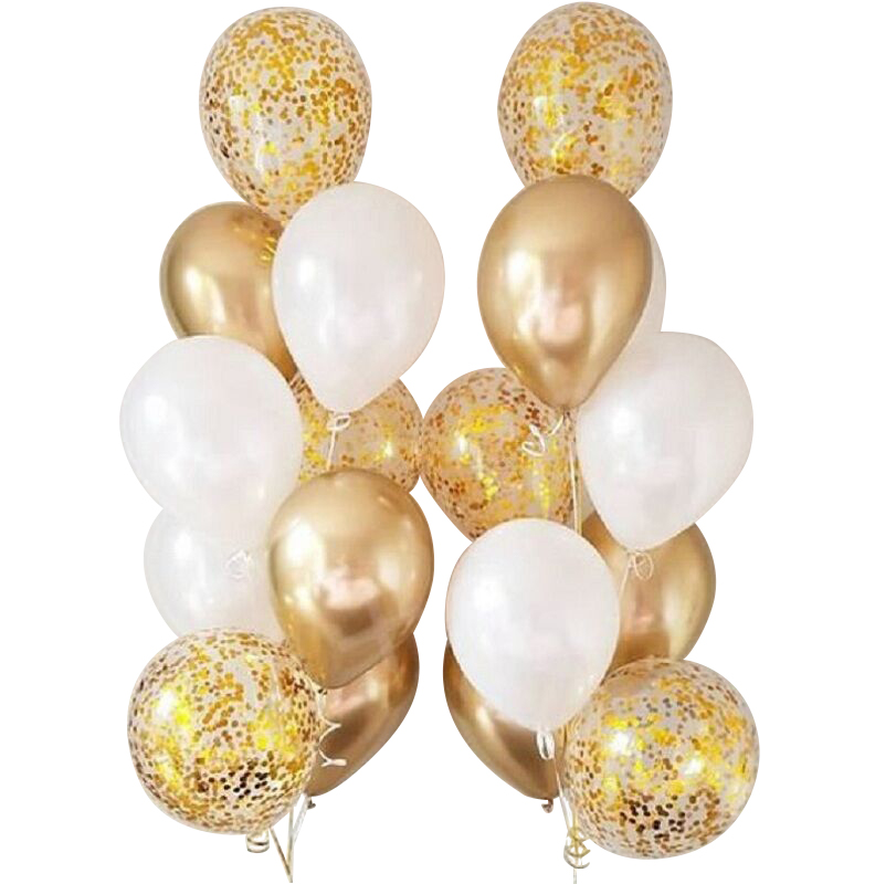 18pcs 10/12 inch White and Gold Balloon metallic wafer Balloons For Party Decorations Wedding Birthday Supplies