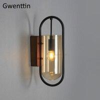 Nordic preto ferro lâmpada de parede de vidro arandela luminárias led espelho luzes do banheiro quarto arte decoração casa luminária