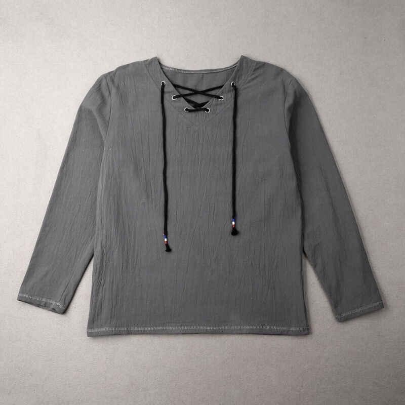 Hirigin masculino casual músculo camiseta magro ajuste com decote em v manga longa solta cor pura topos t plus size M-XXXL