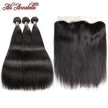 עלי אנאבל ישר שיער חבילות עם פרונטאלית שיער טבעי חבילות עם פרונטאלית אוזן לאוזן סגירה ברזילאי שיער Weave חבילות