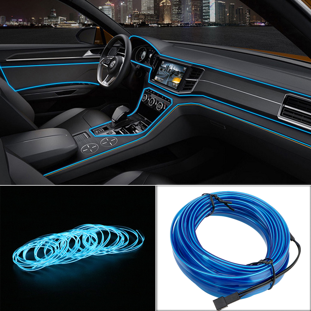 FORAUTO 1m/2m/3m/5m Car LED Strips Auto Decoration Atmosphere Lamp 12V Flexible Neon EL Wire Rope Indoor Interior LED Car Light