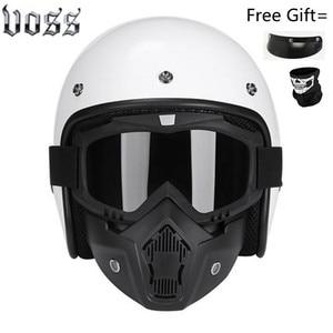 Image 5 - Fashion brand VOSS vintage motorcycle helmets matte black captain america Goggles Retro Vintage Style DOT