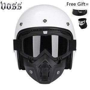 Image 5 - Moda marka VOSS vintage motosiklet kaskları mat siyah kaptan amerika gözlük Retro Vintage stil nokta