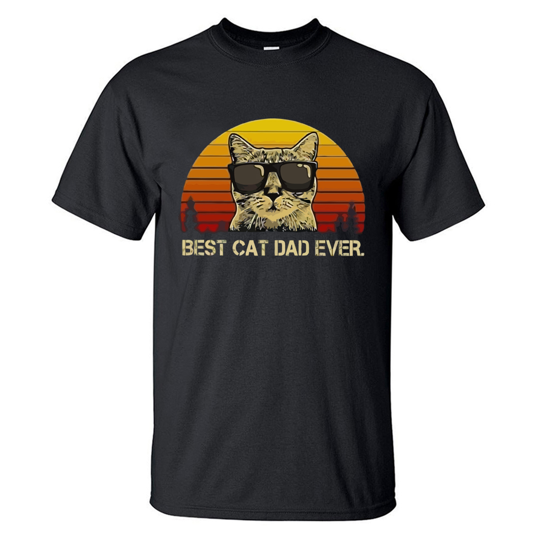 Funny Cats Print Male Tee Best Cat Dad Ever Balck Tee Shirts Men Fashion Tops Animal Cat Cute Unisex Tops Pure Cotton Tshirts