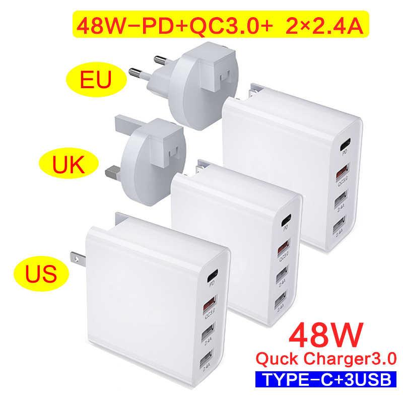 48W Sạc Nhanh Type C USB PD Sạc Cho Samsung iPhone X XS Max Huawei Đa Cổng QC 3.0 nhanh Sạc Tường Mỹ EU Plug