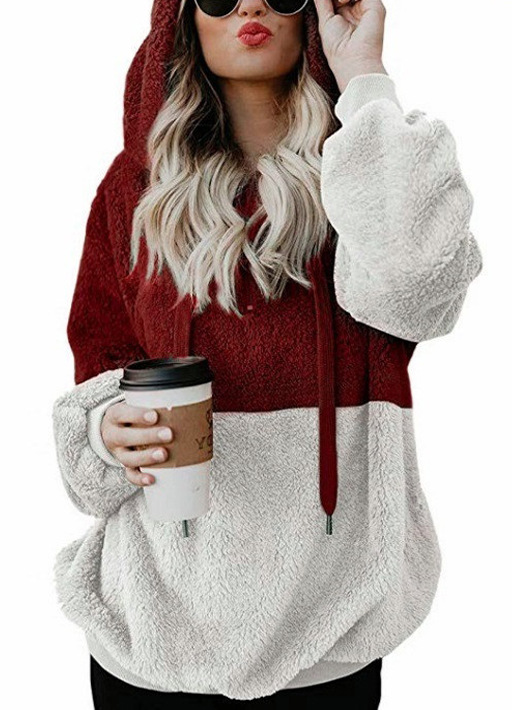 Europe And America Hot Selling 2018 Autumn And Winter Amazon AliExpress Joint Contrast Color Tops Rope Hoodie Sweaters Coat