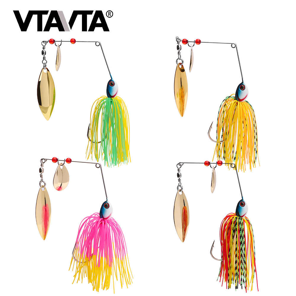 VTAVTA 1 قطعة بايك Wobblers الصيد المغازل ملعقة الطعم الصيد إغراء الطعم الاصطناعي سبينر المعادن إغراء الصيد معالجة Chatterbait